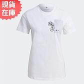 【現貨】Adidas DISNEY 女裝 短袖 休閒 米妮 胸前口袋 純棉 白【運動世界】GS0245