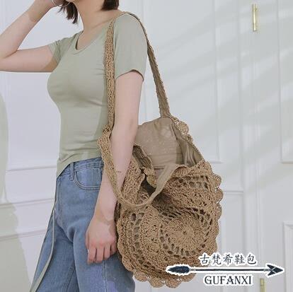 編織包 ins風圓形草編包氣質花朵手工編織女包氣質款度假沙灘包 - 古梵希鞋包