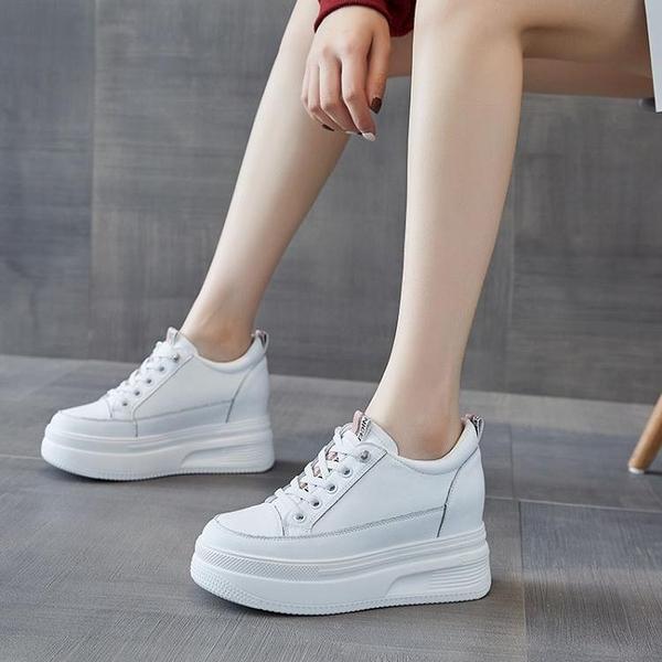 厚底小白鞋女2021新款百搭爆款鞋子8cm运动松糕鞋春季内增高女鞋 快速出貨