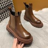 新款ins馬丁靴女網紅韓版學生季保暖短靴英倫煙筒瘦靴 快速出貨