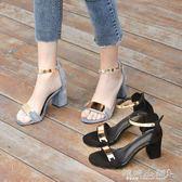 粗跟高跟涼鞋 羅馬涼鞋女學生百搭韓版中跟高跟鞋一字扣帶粗跟女鞋子 傾城小鋪