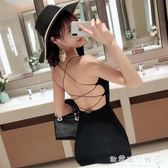 酒吧女裝主播夜店性感露背綁帶黑色緊身包臀吊帶洋裝 『歐韓流行館』