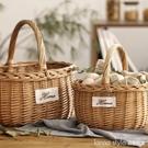 手工柳編編織戶外野餐籃手提購物籃水果籃子竹編竹籃收納筐小籃子 Lanna YTL