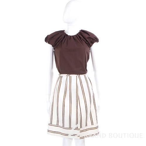 Kristina Ti 米色條紋及膝裙 0820032-03