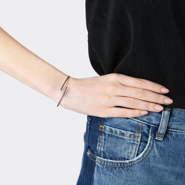 點睛品 Wrist Play 18K金單排黑鑽石手環/手鐲