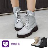 韓系時尚百搭素面亮片綁帶圓頭方跟短靴/3色/35-40碼 (RX1325-D5009) iRurus 路絲時尚