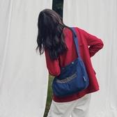 韓版街頭時尚帆布包女字母學生單肩布袋包簡約斜挎帆布袋