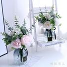 仿真牡丹花玫瑰花束唯美清新裝飾家居客廳落地花瓶裝飾絹花擺件 LJ442【極致男人】