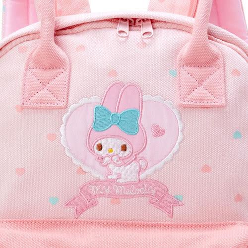 《Sanrio》美樂蒂刺繡LOGO兩用帆布後背包(愛心粉)_701238