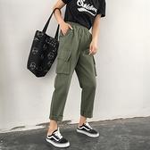 工裝褲 ins工裝褲女寬鬆bf秋季法式束腳潮嘻哈帥氣顯瘦高腰小個子直筒褲