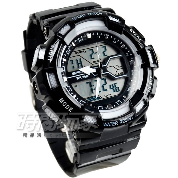 SANDA  時尚潮流多功能電子腕錶 男錶 EL背光 SA726白黑  防水手錶 雙顯示 電子錶 夜光 軍錶 運動錶