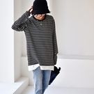 棉質T恤女 條紋內搭上衣 拼接假兩件T恤-夢想家-T2182C-0119