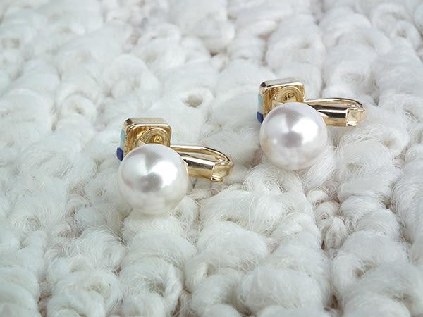 耳環 珍珠彩石 三角耳夾 i917ღ