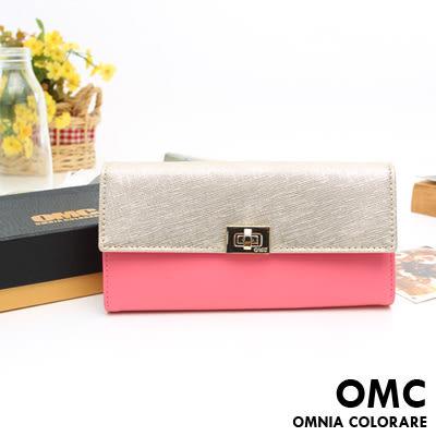 OMC - 專櫃雙色系真皮款兩折式拉鍊長夾- 金粉系
