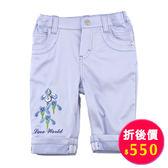 【愛的世界】繡花反摺七分褲-藍/8~10歲-台灣製- ★春夏下著