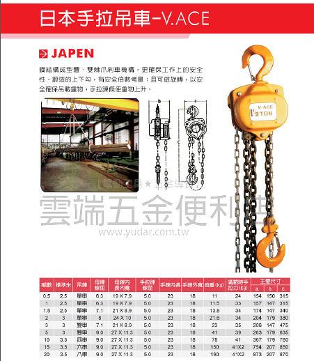 1T*2.5M 手拉吊車 ACE吊車 日本製 起重機