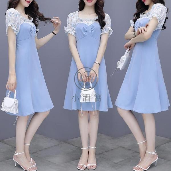 泡泡袖收腰藍色法式碎花雪紡連衣裙短袖連身裙洋裝【小酒窩】