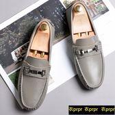 豆豆鞋-頭層牛皮休閒灰色軟底套腳豆豆鞋 衣普菈