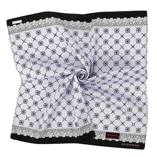 Clathas 經典山茶花菱格紋純綿領巾(粉紫色)989256-2