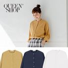 Queen Shop【01023314】素色中山領長袖棉麻襯衫 三色售*現+預*