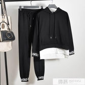 2019春秋帥氣bf休閒運動學生寬鬆嘻哈衣服男女潮網紅同款兩件套裝 韓慕精品