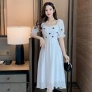 洋裝方領泡泡袖連身裙S-XL方領泡泡袖初戀溫柔風甜美白色連身裙法式長款 6169 6F-647-B 韓依紡
