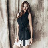 【好康618】2018夏季新款韓版蝴蝶結西裝領無袖連身裙