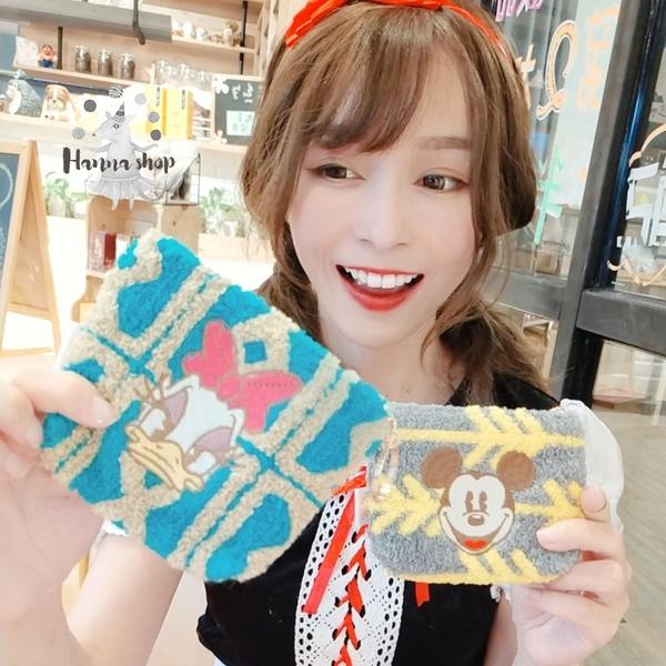 《花花創意会社》獨家。迪士尼米奇米妮幾何毛絨皮革超可愛卡包零錢包鑰匙包 四款【H7014】