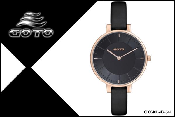 【時間道】[GOTO。錶]簡約無秒針時尚腕錶/黑面玫瑰金殼皮 (GL0040L-43-341)免運費