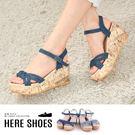 [Here Shoes]涼拖鞋牛仔帆布丹寧跟高7.5cm楔型厚底涼鞋─AN17-8