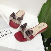 中跟外穿涼拖鞋2020夏季新款百搭粗跟高跟一字拖軟妹網紅女鞋 EY11124 【MG大尺碼】