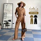 LULUS【A01210307】Y兩件式-翻領上衣+排釦長褲2色