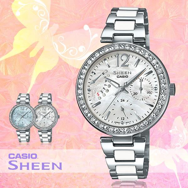 CASIO 手錶專賣店 卡西歐 SHEEN SHE-3042D-7A 女錶 指針錶 白 施華洛世奇 不鏽鋼錶帶