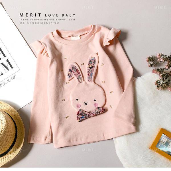 純棉 可愛拼布兔兔蝴蝶結木耳肩上衣 磨毛 粉紅 貼鑽 質感 花布 韓版 秋 女童 長袖 哎北比童裝
