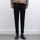 找到自己品牌 2017韓國新款 男生 修身毛邊小腳褲 個性潮 拉鏈設計黑色牛仔褲