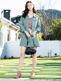 單一優惠價[H2O]後領裝飾格子布腰部可調節多彩色牛仔短版外套 - 粉/淺藍綠/牛仔淺藍色 #0693003
