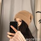 頭巾帽 帽子女冬毛線帽秋冬季洋氣保暖雙層針織帽日系百搭雙面護耳堆堆帽 快速出貨