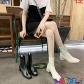 短靴 英倫風加絨方頭短靴女2021秋冬季新款馬丁靴短筒瘦瘦靴粗跟棉靴子 寶貝計畫