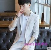 X-西服男韓版潮流修身男士休閒小西裝外套夏季七分中袖套裝男裝衣服【單件上衣】