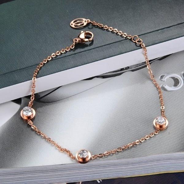 316L醫療鋼 4mm三顆白水晶極細手鍊-玫瑰金 防抗過敏 不退色