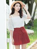 春夏↘7折[H2O]前立體蝴蝶結裝飾顯瘦短褲裙-紅/藍/卡其色 #8678004