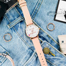 kate spade / 1YRU0892 / Metro 享受早晨珍珠母貝真皮手錶 白x玫瑰金框x粉杏 34mm