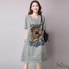 大碼短袖棉麻洋裝 2020夏裝新款韓版文...