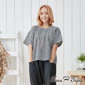 【Tiara Tiara】純棉格紋背綁帶落肩上衣(灰/黑)