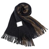 CalvinKlein 新款CK拼色條紋流蘇圍巾(深藍色)103215-2