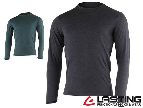 丹大戶外用品【LASTING】男款長袖羊毛T恤 LT-LOGAN 黑灰/藍綠