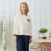 【Tiara Tiara】長短版氣質襯衫長袖上衣(米)