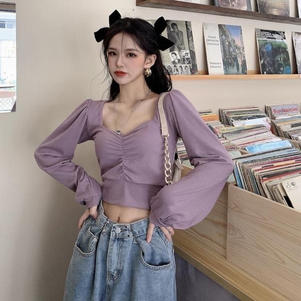 泡泡袖上衣 方領泡泡長袖打底衫女早春緊身上衣小眾設計感百搭短款2021年新款 非凡小鋪