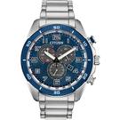 CITIZEN 星辰 Chronograph 光動能計時手錶-藍x銀/45mm AT2440-51L