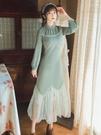 旗袍 秋冬季荷葉邊魚尾裙打底長裙到腳踝女旗袍修身顯瘦長款針織連衣裙尾牙-快速出貨